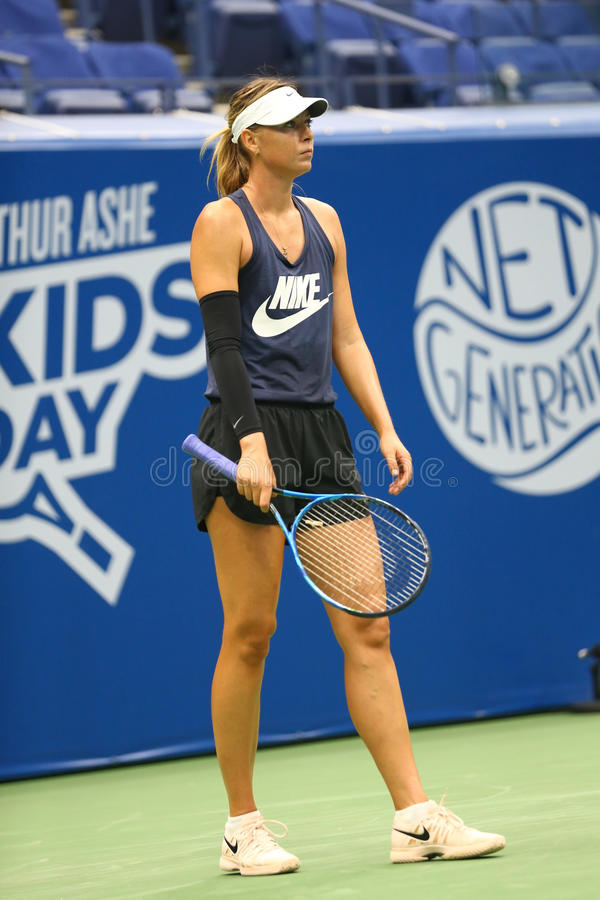 Five times Grand Slam Champion Maria Sharapova of Russian Federation practices for US Open 2017. NEW YORK - AUGUST 26, 2017: Five times Grand Slam Champion Maria royalty free stock image