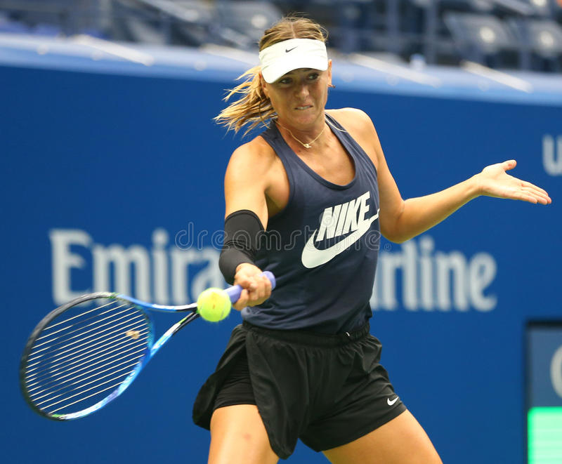 Five times Grand Slam Champion Maria Sharapova of Russian Federation practices for US Open 2017. NEW YORK - AUGUST 26, 2017: Five times Grand Slam Champion Maria stock images