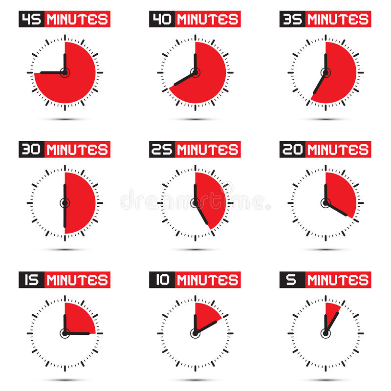 Five to Forty Five Minutes Stop Watch Illustration vector illustration