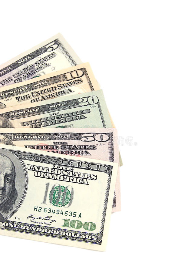 Five to hundred US dollar banknotes royalty free stock image
