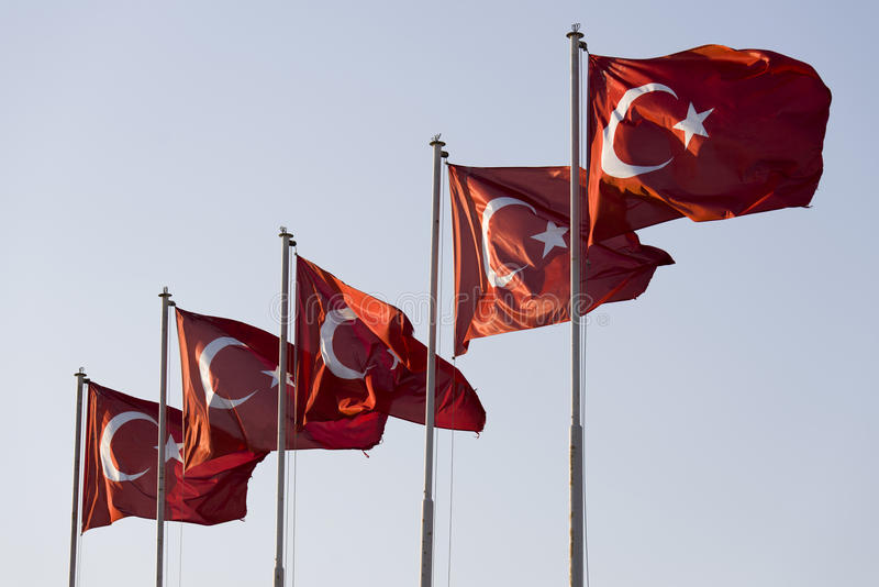 Five Turkish flags. Side by side stock photo