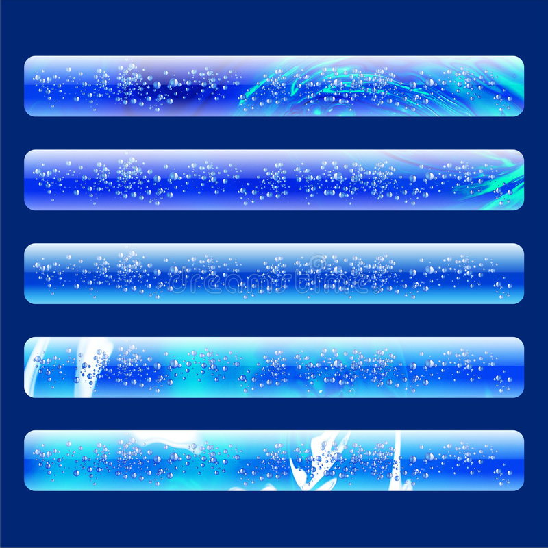 Five water web banners stock illustration