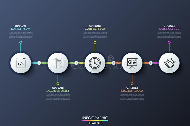 Five white circular elements with pictograms inside connected by lines and play buttons. History of company`s stock illustration