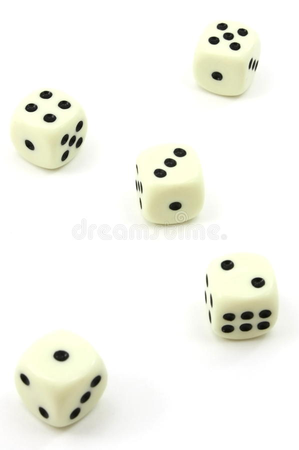Five white dice, one to five royalty free stock photos