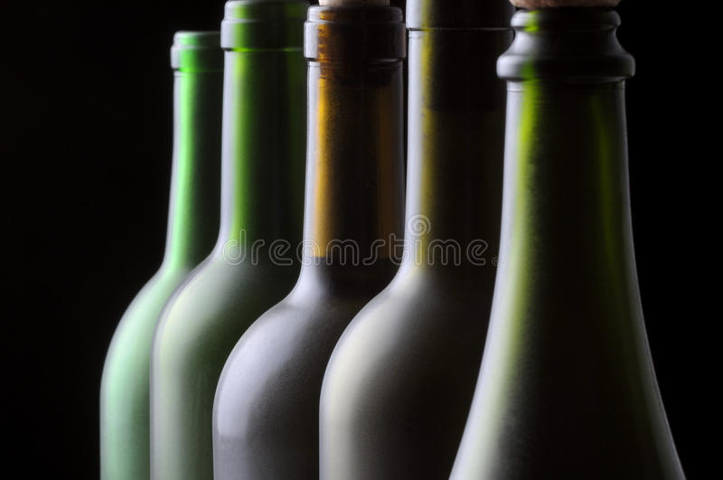 Download Five Wine Bottles stock photo. Image of black, wine, drink - 9990124