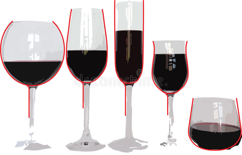Five wine glasses with equal amount of wine. Five differently shaped wine glasses contain equal amount of wine. It appears, however, that some of glasses have stock illustration