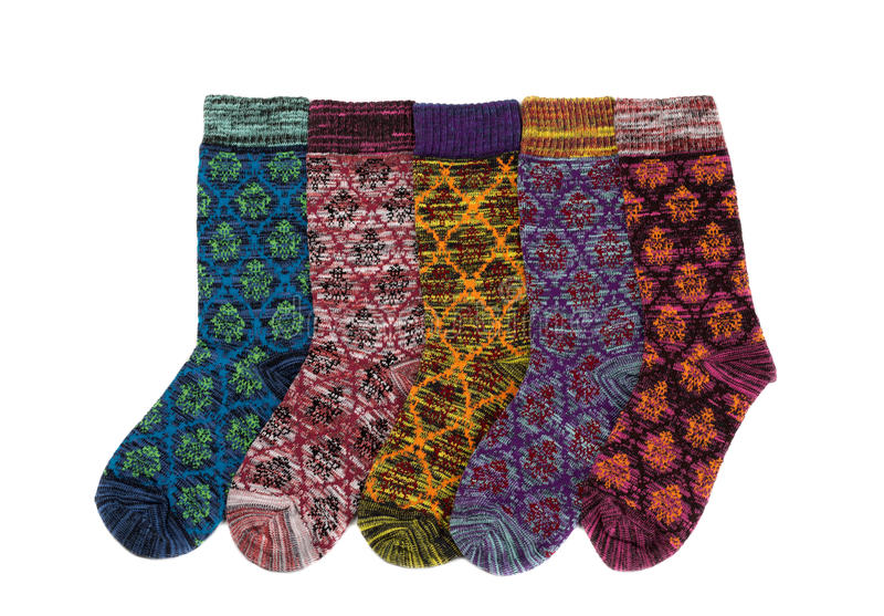 Five winter socks. stock images