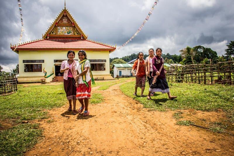 Five Women Walking on Green Grasses royalty free stock photos