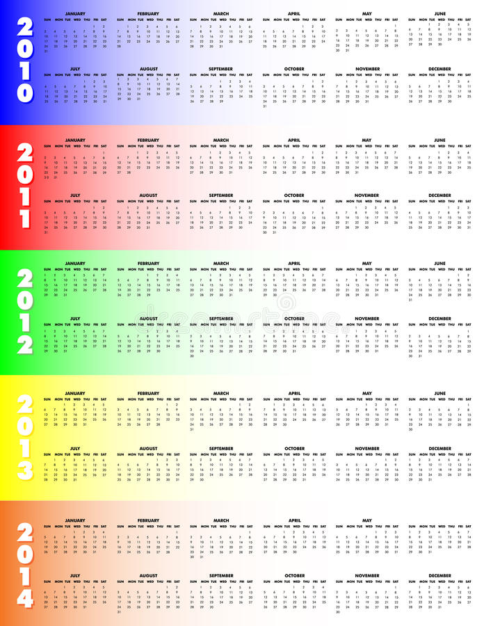 Download Five-Year Calendar 2010-2014 - Stock Vector - Image: 14731115