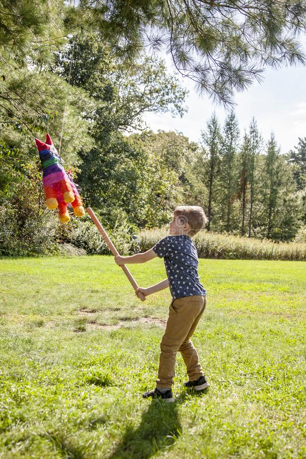 Boy hitting a pinata at outside birthday party. Five year old boy hitting a colorful horse pinata outside at a birthday party royalty free stock photo