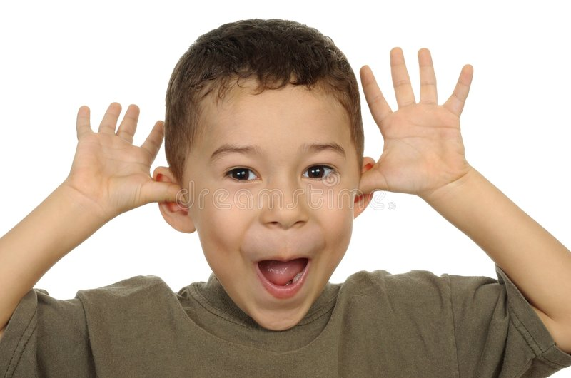 Five year old funny face stock photography