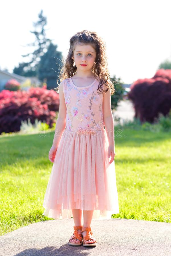 Five Year Old Girl Portrait Before Dance Performance stock photo