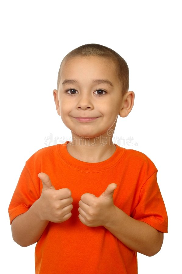 Five year old thumbs up royalty free stock image