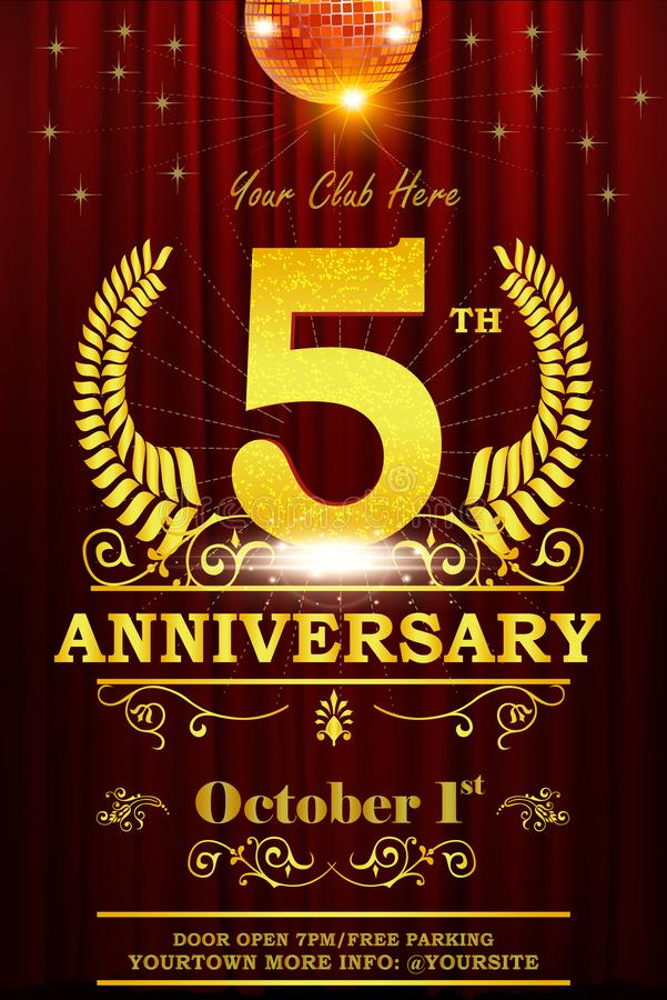 Five years anniversary poster celebration template. With golden ring, sparkles, curtains, ribbon. Vector EPS 10 design vector illustration