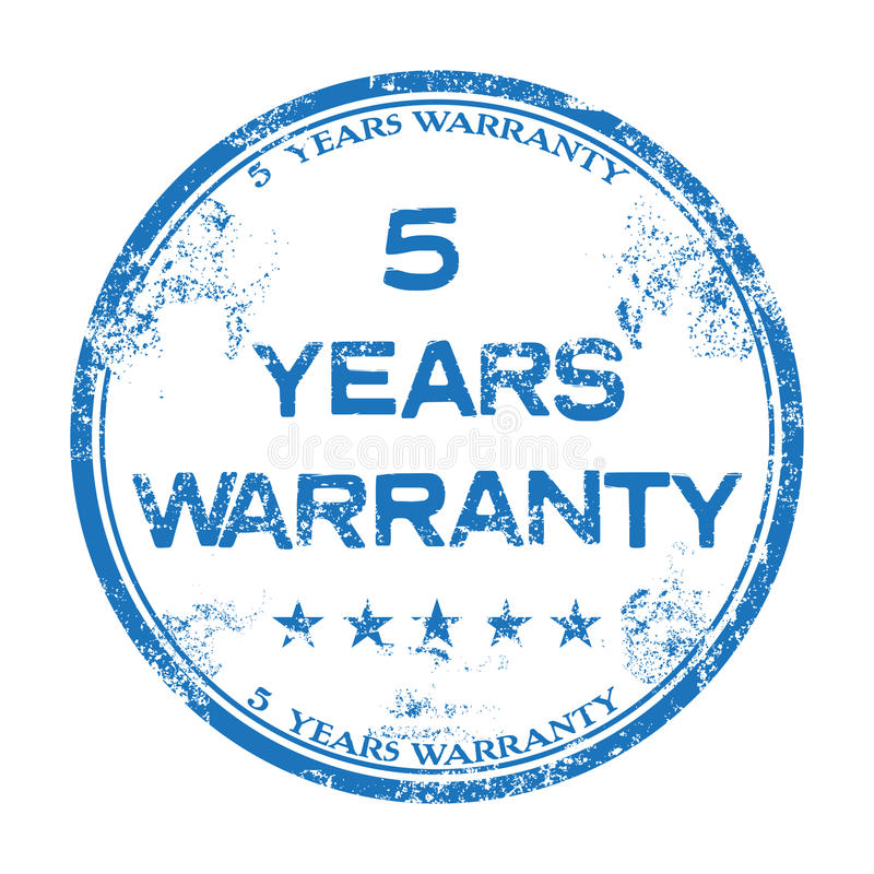 Five years warranty. Blue grunge rubber stamp with the text five years warranty written inside the stamp stock illustration