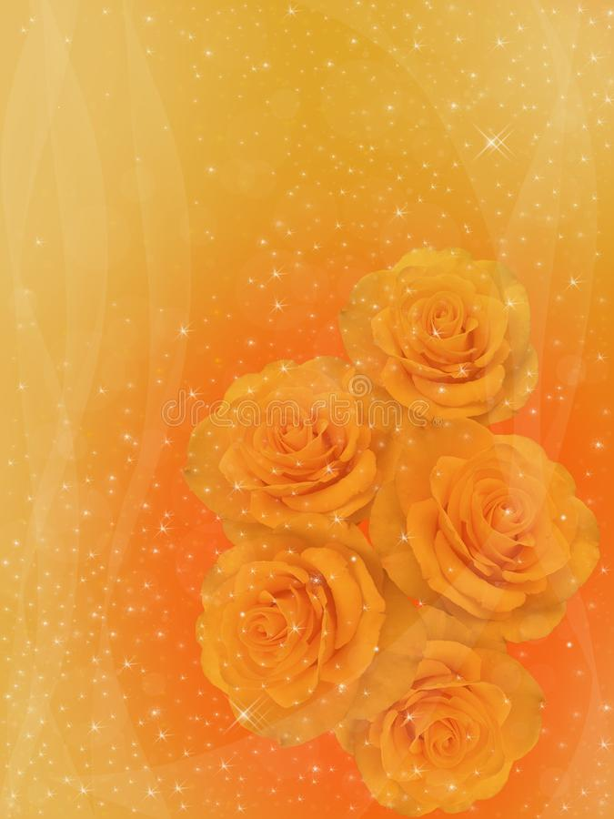Yellow roses on a golden background. stock illustration