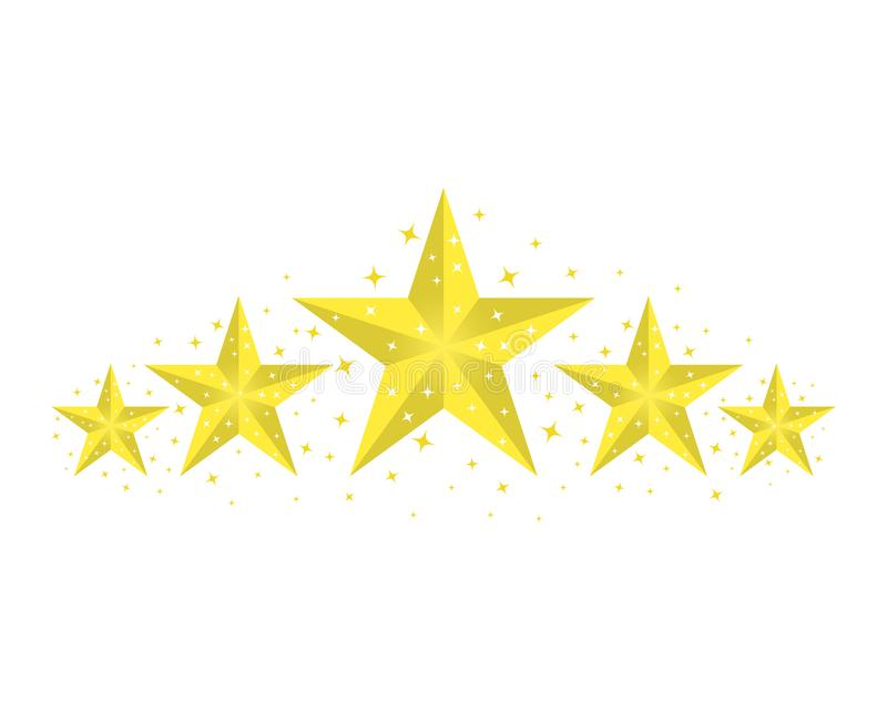 Five yellow, gold stars with highlighted edges and glitter. The concept of rating. Vector isolated light background. Five yellow, gold stars with highlighted royalty free illustration