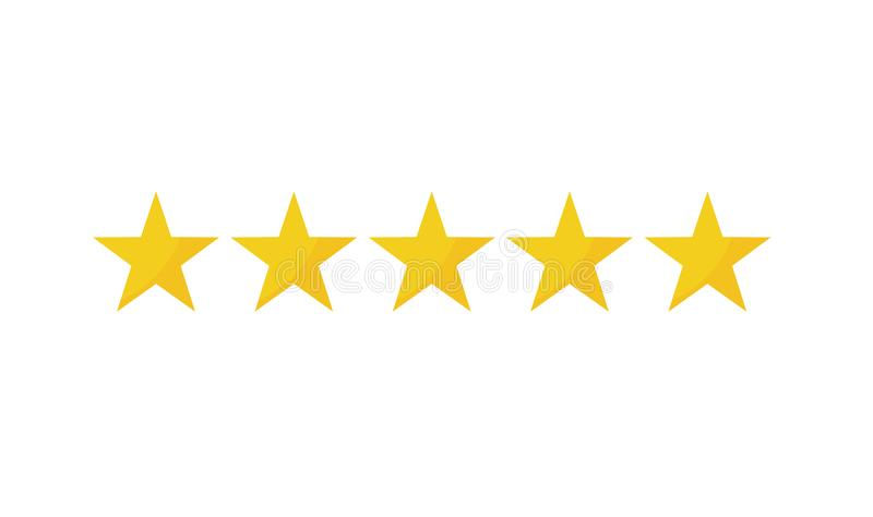 Five yellow star icons. On white background stock illustration