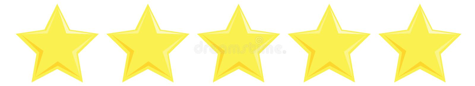 Five yellow stars customer product rating review. Vector flat illustration isolated on the white background royalty free illustration