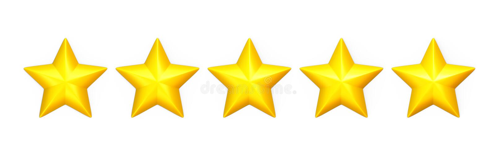 Five yellow stars in a row on white. Five yellow stars in a row. Isolated on white stock illustration