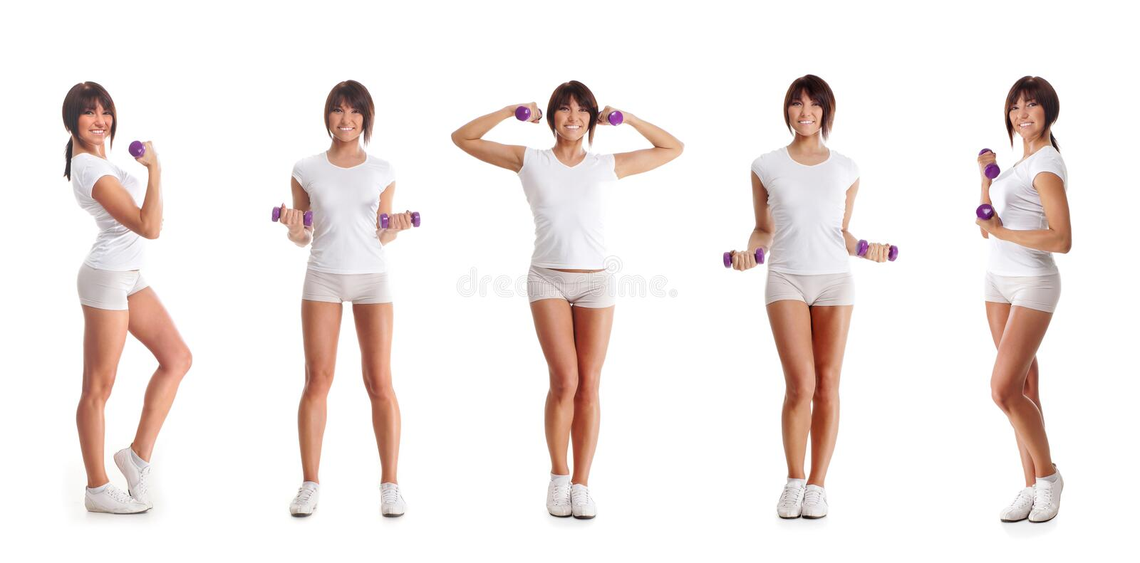 Download Five Young Brunette Woman Training With Dumbbells Stock Photo - Image: 26537234