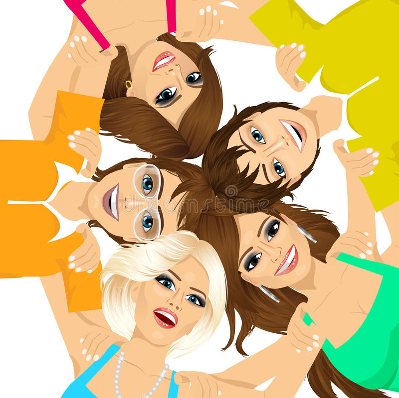 Five young happy smiling teenagers stock illustration