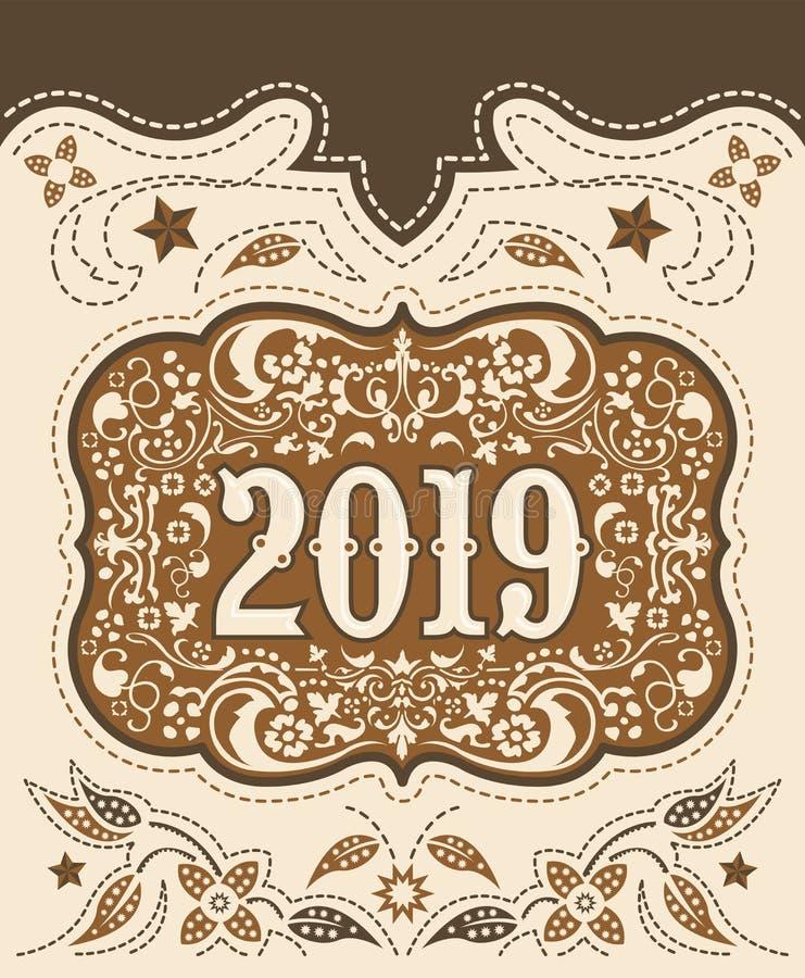 2019 fivela de cinto do vaqueiro, fundo decorativo do crachá ocidental do vintage ilustração royalty free