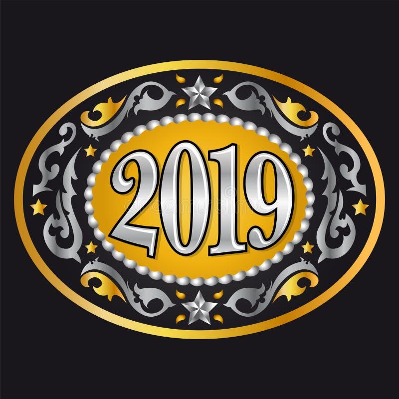 fivela de cinto 2019 ocidental do oval do ano novo do estilo do vaqueiro ilustração royalty free