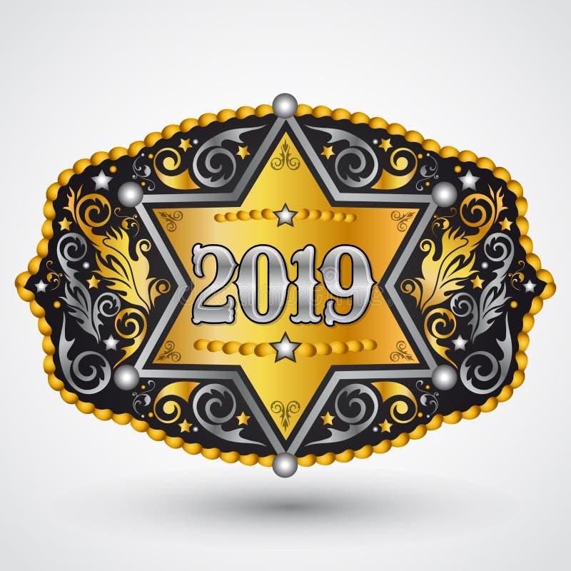 fivela de cinto ocidental do vaqueiro de 2019 anos com projeto do vetor do crachá do xerife ilustração stock
