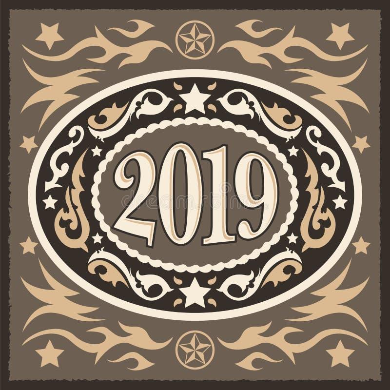 2019 fivela de cinto oval ocidental do ano novo do estilo do vaqueiro, ilustração do vetor ilustração do vetor