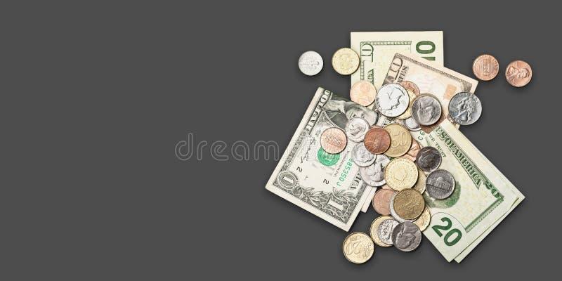 Fiver i monety zdjęcie stock