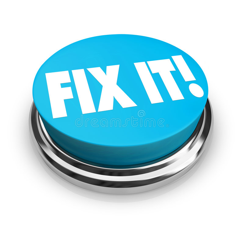 Fix It Button. A blue button with the words Fix It vector illustration