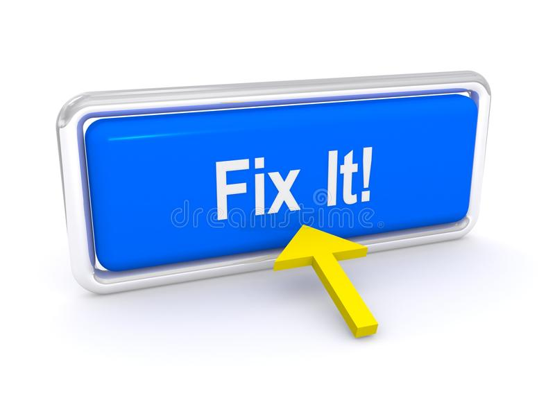 Fix it button. Arrow pointing at blue fix it button with a white background vector illustration