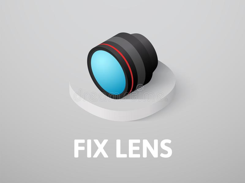 Fix lens isometric icon, isolated on color background. Fix lens icon, vector symbol in flat isometric style isolated on color background royalty free illustration