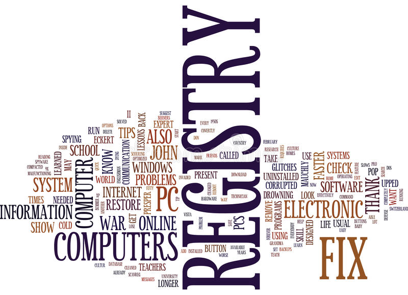 Fix Registry Problems On Your Own Text Background Word Cloud Concept stock illustration