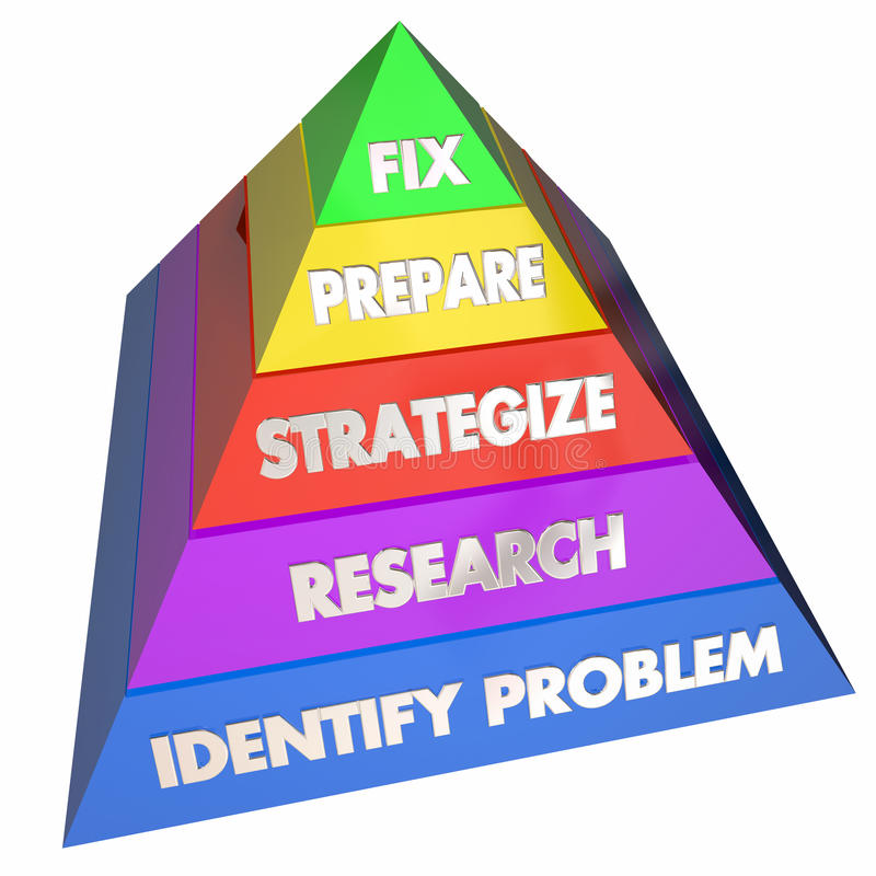Fix Solve Problem Repair Issue Steps Pyramid. 3d Illustration royalty free illustration