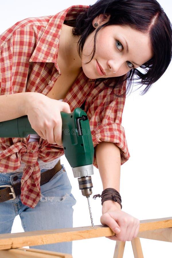 Fix-it woman stock image