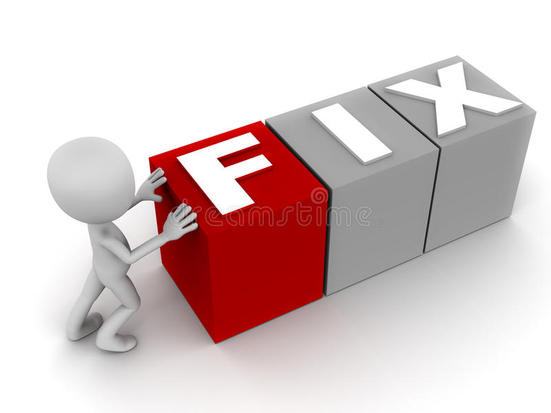 Fix. Word being put in place by little 3d man on white background, word f in red block, concept of technical solution or resolution vector illustration