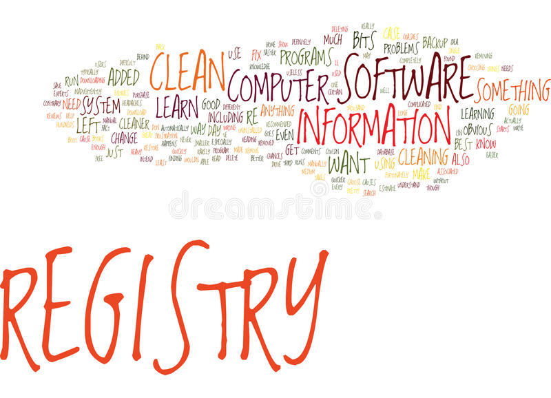Fix Your Computer How To Clean Registry Text Background Word Cloud Concept stock illustration