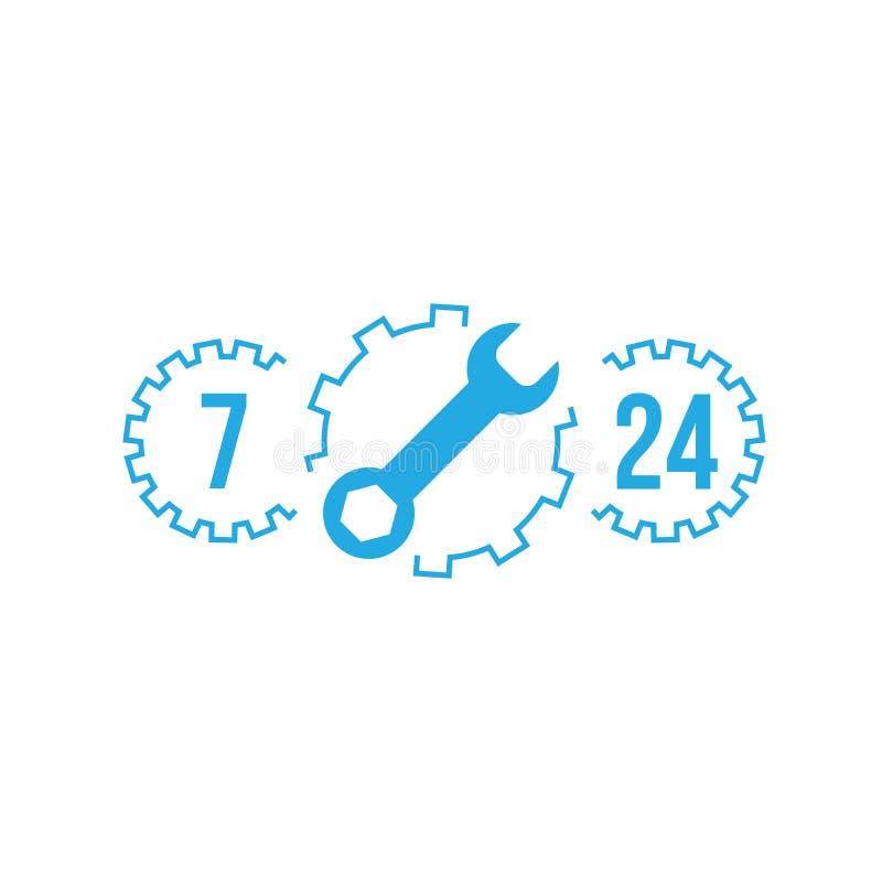 Fixa service, kundtjänst, 24 timmar 7 dagar i veckan, appellmitten, isolerad symbol på vit bakgrund, automatiskservice, bilrepara royaltyfri illustrationer