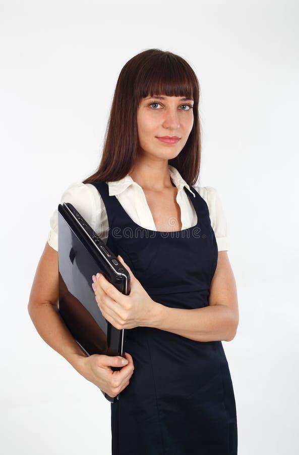 Fixation de femme d'affaires son ordinateur portatif photos libres de droits