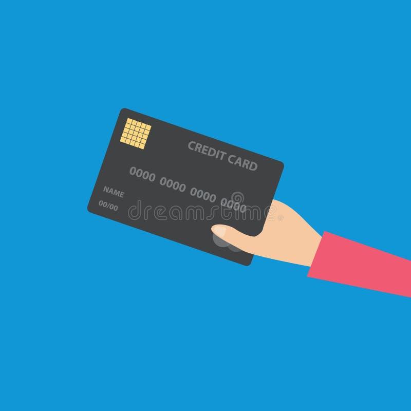 fixation de main de crédit de carte concept de commerce électronique, illustration plate de vecteur de conception moderne de tend illustration de vecteur