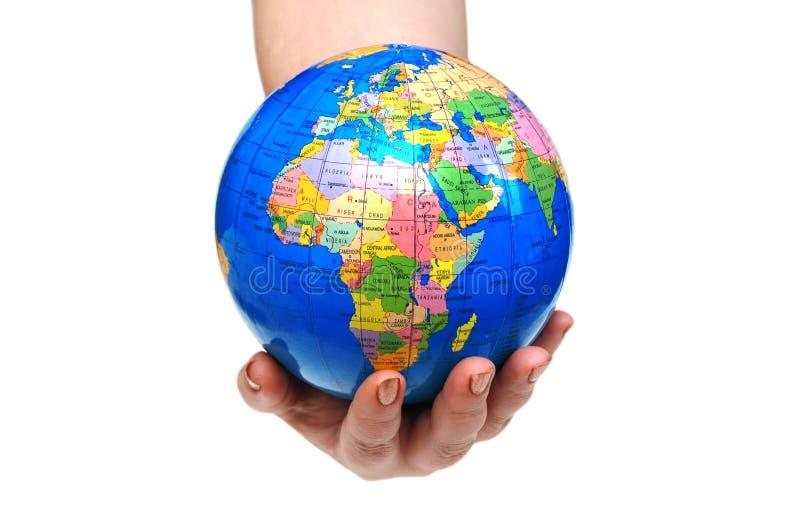 fixation de main de globe d'isolement image libre de droits