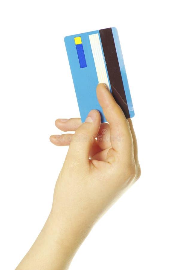 Fixation de main par la carte de crédit images libres de droits