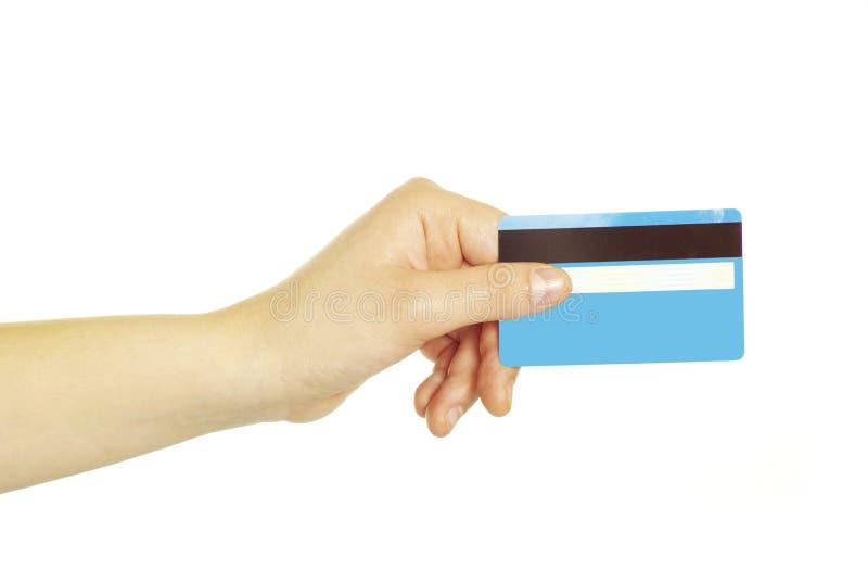 Fixation de main par la carte de crédit images stock