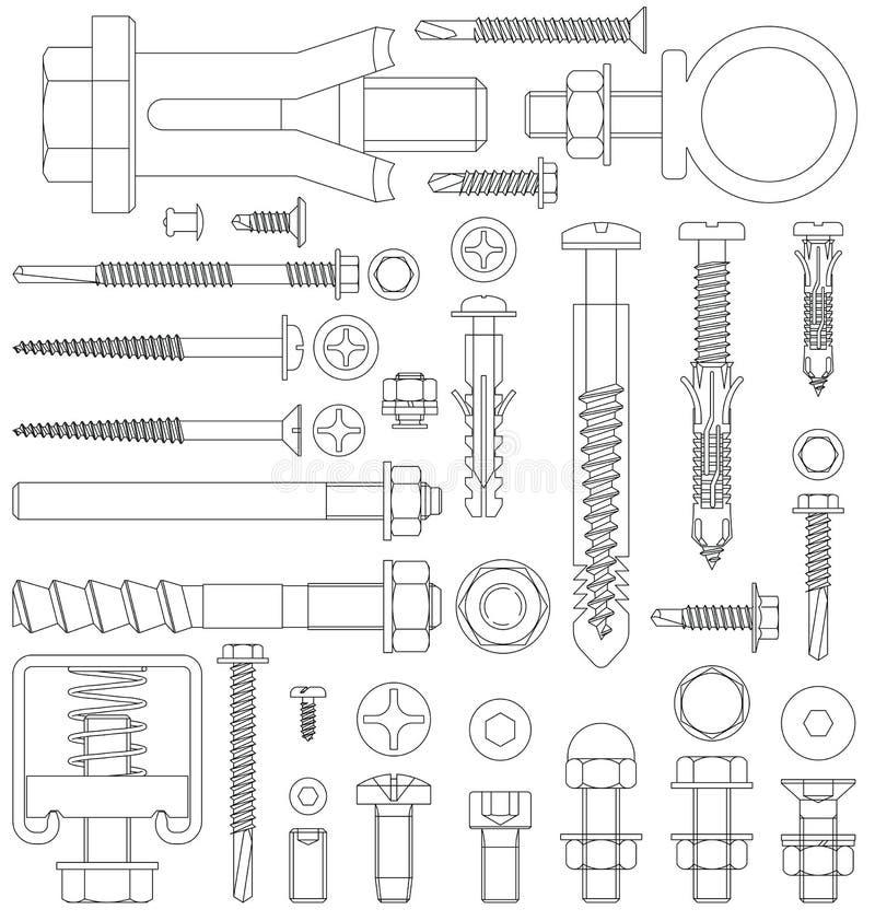 Fixations d'ensemble illustration de vecteur