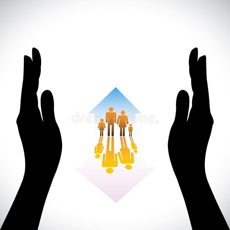 Gráfico de ícones seguros dos povos da família, silhoue da mão ilustração royalty free