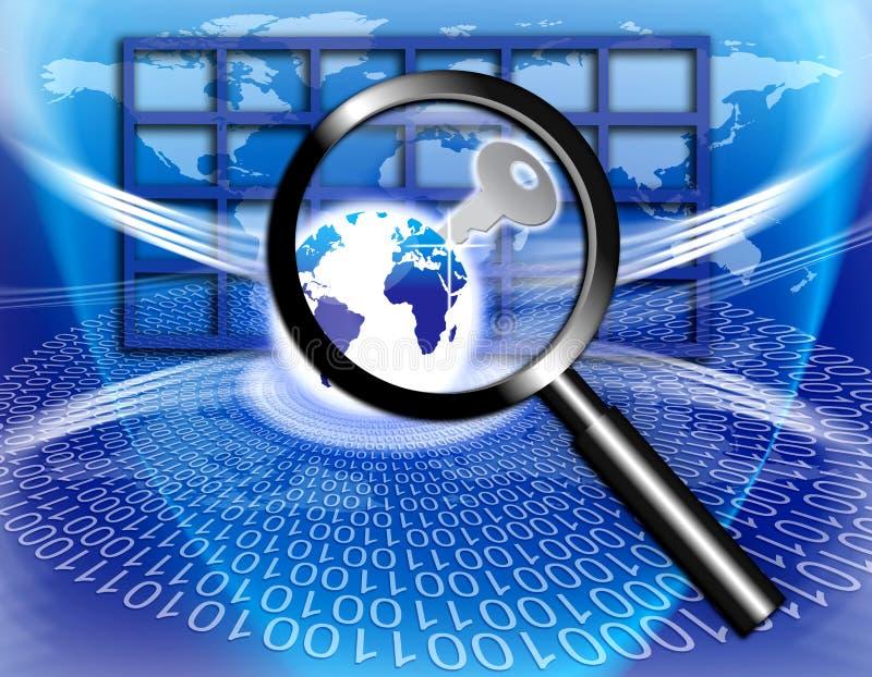 Fixe a chave global da tecnologia da informação ilustração royalty free