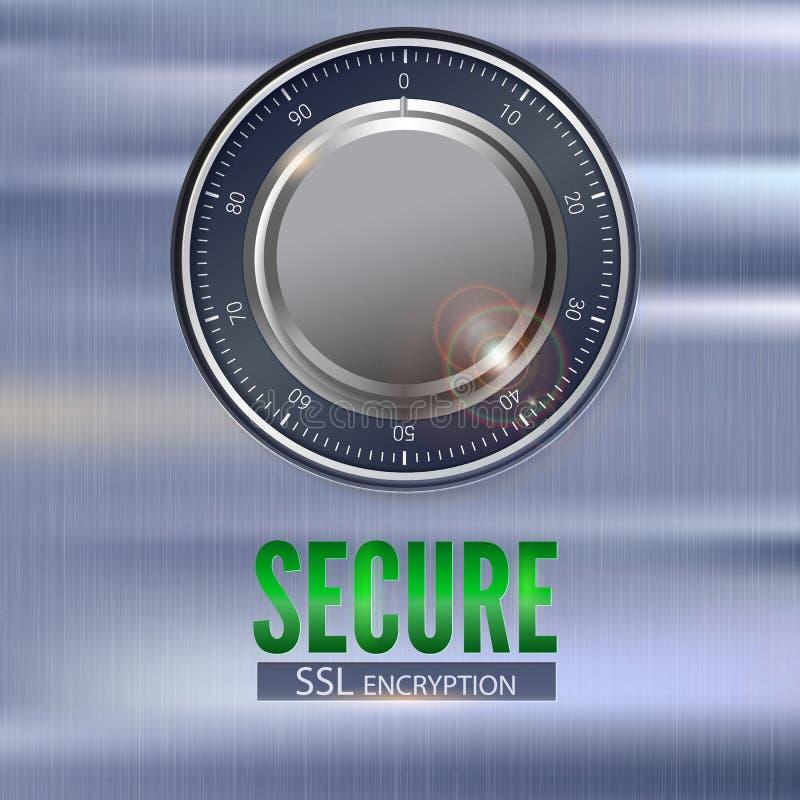 Fixe a ilustração da conexão 3D do SSL com fechamento digital Segurança do conceito da informação e dos dados protegidos Fechamen ilustração stock