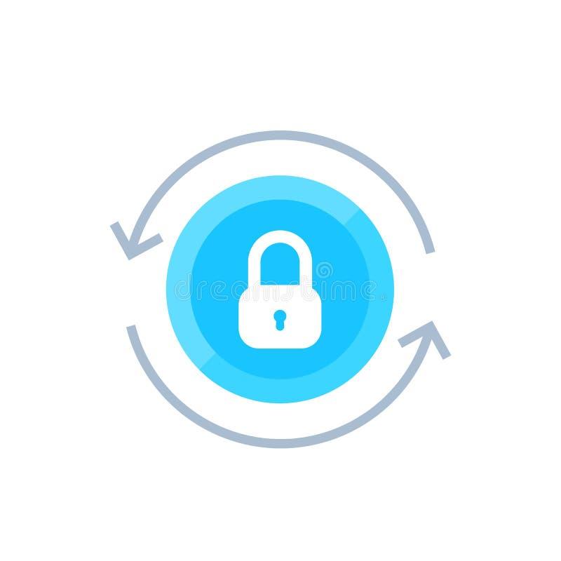 Fixe o acesso, ícone do vetor da segurança no branco ilustração stock
